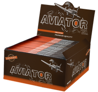 AVIATOR ORGANIC SLIM (109mm. X 44mm.) Paper Quality: 14.0 gsm  (Unbleached Repped Paper) 32 Leaves per Booklet 50 Booklets per Box (THIS PRICE IS FOR A COMPLETE BOX OF 50 BOOKLETS)