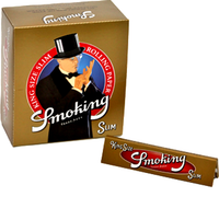 SMOKING SLIM GOLD (109mm. X 44mm.) Paper Quality: 13.5 gsm (PREMIUM PAPER) 32 Leaves per Booklet 50 Booklets per Box - SLIM