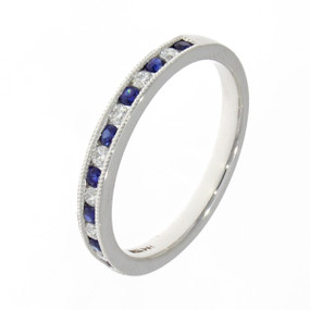 Millegrain Set ,Sapphire & Diamond Eternity Ring