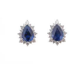 Pear Cut Sapphire and Diamond Earrings