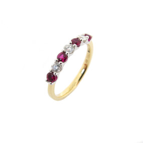 Ruby and Diamond Half Eternity Ring (Prices from £975.00)