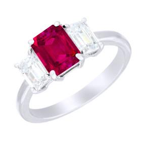 Three Stone Emerald Cut Ruby & Diamond Ring  (Prices from £4500.00)