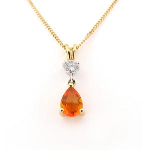 Fire Opal & Diamond Pendant