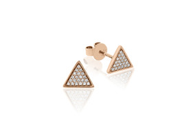 18ct Rose Gold Geometric Triangle Diamond Stud Earrings