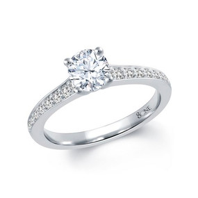 80ne Facet Diamond Ring, With Diamond Set Shoulders