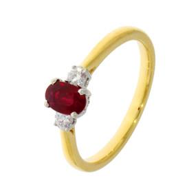 18ct Yellow Gold Ruby & Diamond Three Stone Ring