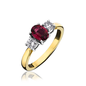 Ruby & Diamond Three Stone Ring in 18ct Yellow Gold