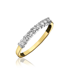 Nine Stone Diamond Half Eternity Ring, 18ct Gold