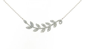 18ct White Gold, Diamond Pave Leaf Necklace
