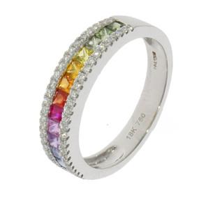 18ct White Gold Multi-Colour Sapphire Ring