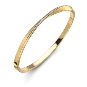 18ct Yellow Gold & Diamond Twist Bangle