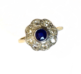 Vintage Sapphire & Old Cut Diamond  Cluster Ring