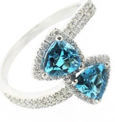 18ct White Gold, Blue Topaz & Diamond Ring