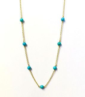 9ct Yellow Gold & Turquoise Station Necklace