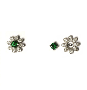 Tsavorite Garnet & Diamond Detachable Stud Earrings