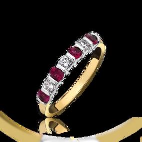 18ct Yellow Gold Ruby & Diamond, Bar Set Eternity Ring