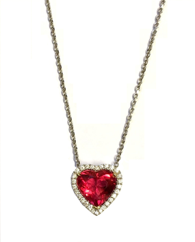 Pink Tourmaline & Diamond Heart Pendant