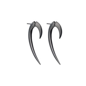 Shaun Leane Silver & Black Rhodium Hook Earrings Size 1