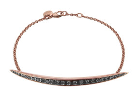 Shaun Leane Silver & Rose Gold Vermeil, Black Spinel Quill Chain Bracelet