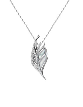 Shaun Leane Silver & Diamond Feather Pendant