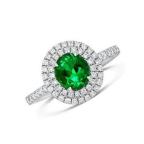 18ct White Gold, Emerald and Diamond Ring  (£11,500.00)
