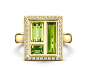 Green Tourmaline & Diamond, Chocolate Box Envy Ring by Andrew Geoghegan
