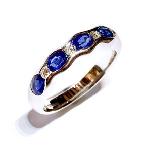18ct White Gold Sapphire & Diamond Wave Eternity Ring