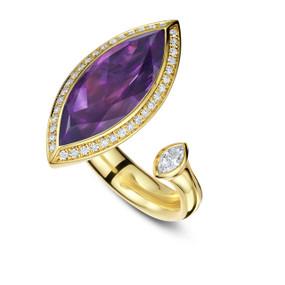 Satellite Marquise Amethyst Ring by Andrew Geoghegan