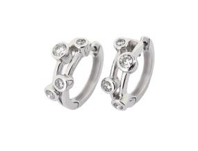 Bubble Diamond Hoop Earrings in 18ct White Gold
