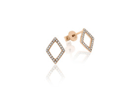 18ct Rose Gold Geometric Diamond Stud Earrings