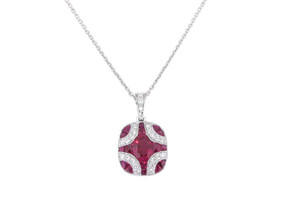 Ruby and Diamond Art Deco Style Pendant
