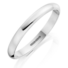 2.5 mm D profile wedding band