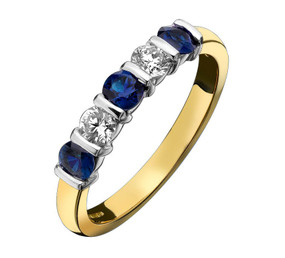 Sapphire and Diamond Five Stone Half Eternity Ring
