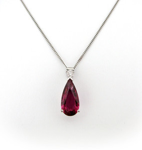 Red Tourmaline and Diamond Pendant