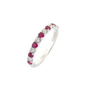 Ruby and Diamond Claw Set Half Eternity Ring  (£895.00)