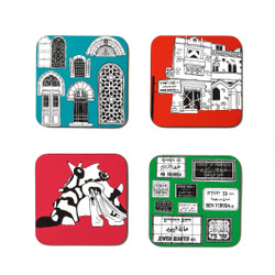 Funky Jerusalem Sites -Coasters set of 4