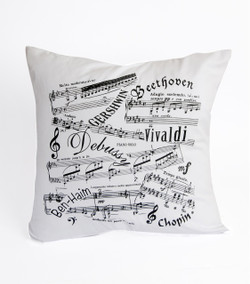 Music Notes White Cushion