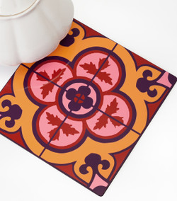 Flower Tile Trivet - Bordeaux
