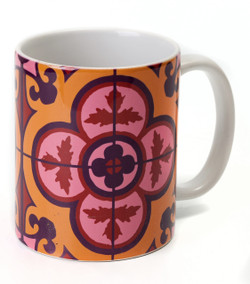 Flower Tile Mug - Bordeaux