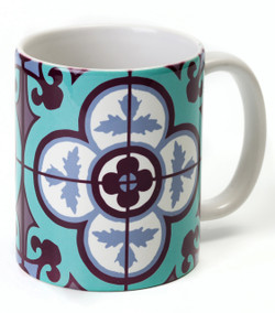Flower Tile Mug - Aqua
