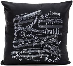 Music Notes Black Cushion