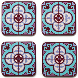 Flower Tile Set of 4 Coasters - Aqua