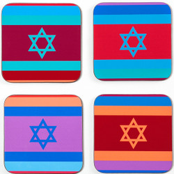 Set of 4 Coasters - Colorful Flags