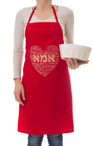 Mom Heart Apron - Red