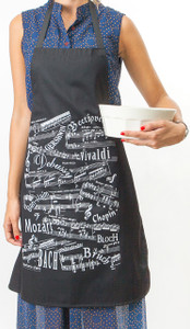 Apron - Musical Notes Black