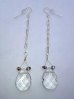 Clear quartz drop dangle earrings