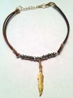 Leather Feather Charm Bracelet