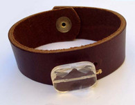 Leather Cuff Bracelet - Brown and Clear