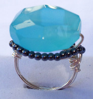 Chalcedony Gunmetal Bead Silver Ring
