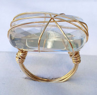 Clear Quartz Wrapped Square Ring
